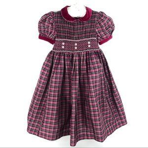 Laura Ashley Girl's Red Plaid Smocked Dress